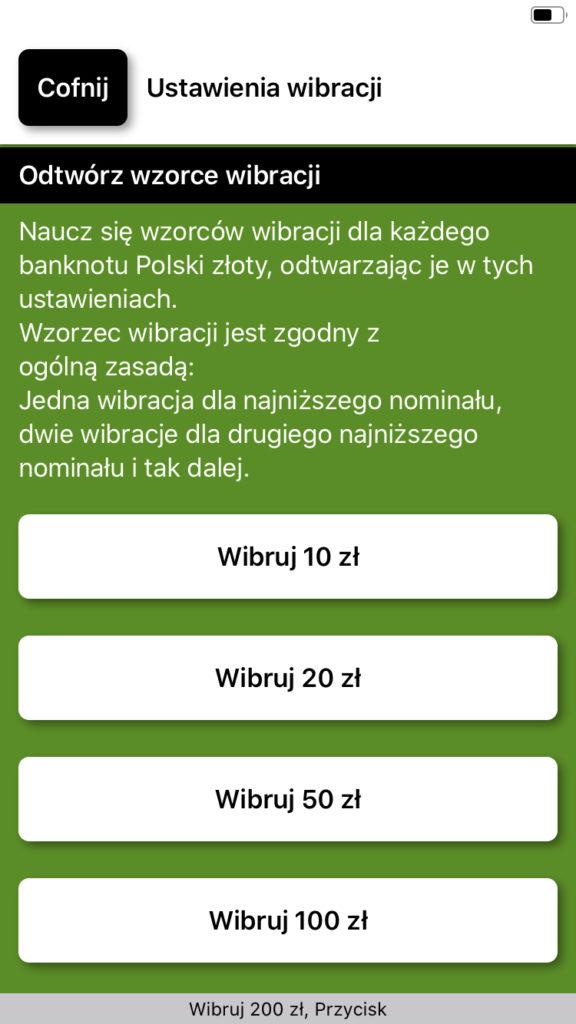 Zrzut ekranu z iPhone - Przyciski oznaczone kolejnymi nominałami, umożliwiające zapoznanie się z sekwencją wibracji dla każdego banknotu.