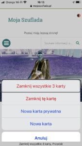 Zrzut ekranu z iPhone - Opcje zamykania wszystkich Kart w Safari na iOS.