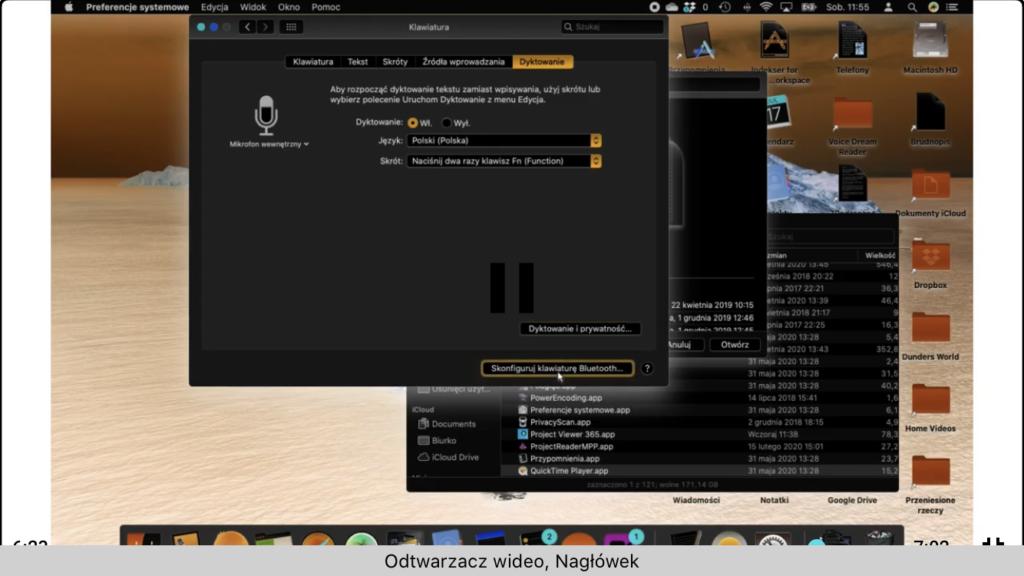 Kadr z nagrania - Ustawienia dyktowania w systemie macOS