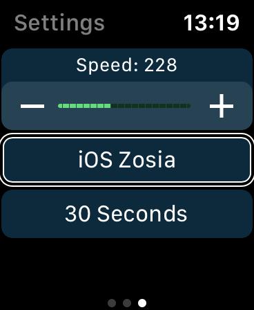 Zrzut ekranu z Apple Watch - Ekran sterowania odtwarzaniem w aplikacji Voice Dream Reader