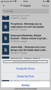 Zrzut ekranu z iPhone - Ekran aplikacji Voice Dream Reader - Wybór lokalizacji dla pliku dodawanego do Listy do Przeczytania