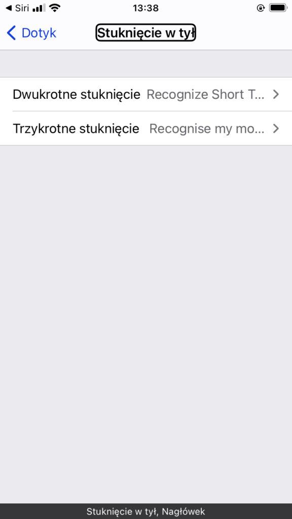 Zrzut ekranu iPhone - Ustawienia funkcji Stuknięcie w Tył w systemie iOS14