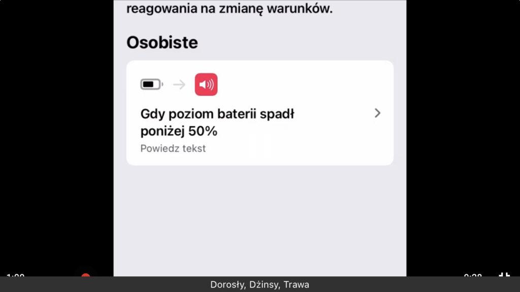 Zrzut ekranu z iPhone - Lista utworzonych automatyzacji w aplikacji Skróty
