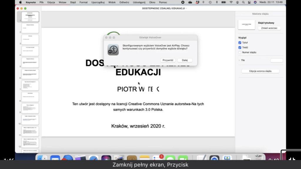 Kadr z nagrania - Podstawowy widok okna aplikacji Keynote w systemie macOS