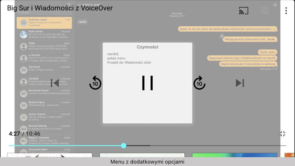 Zrzut ekranu z iPhone - Ekran aplikacji YouTube z kadrem z nagrania, przedstawiającym rozwinięte menu czynności.