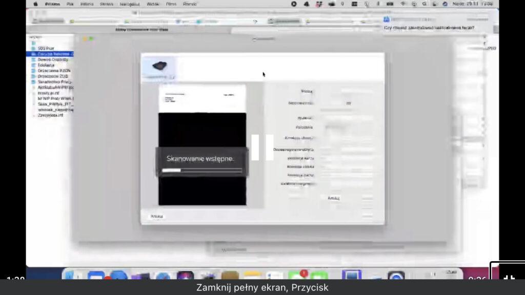 Kadr z nagrania - Uchwycony został moment wykonywania podglądu obrazu za pomocą skanera podłączonego do aplikacji Prizmo OCR