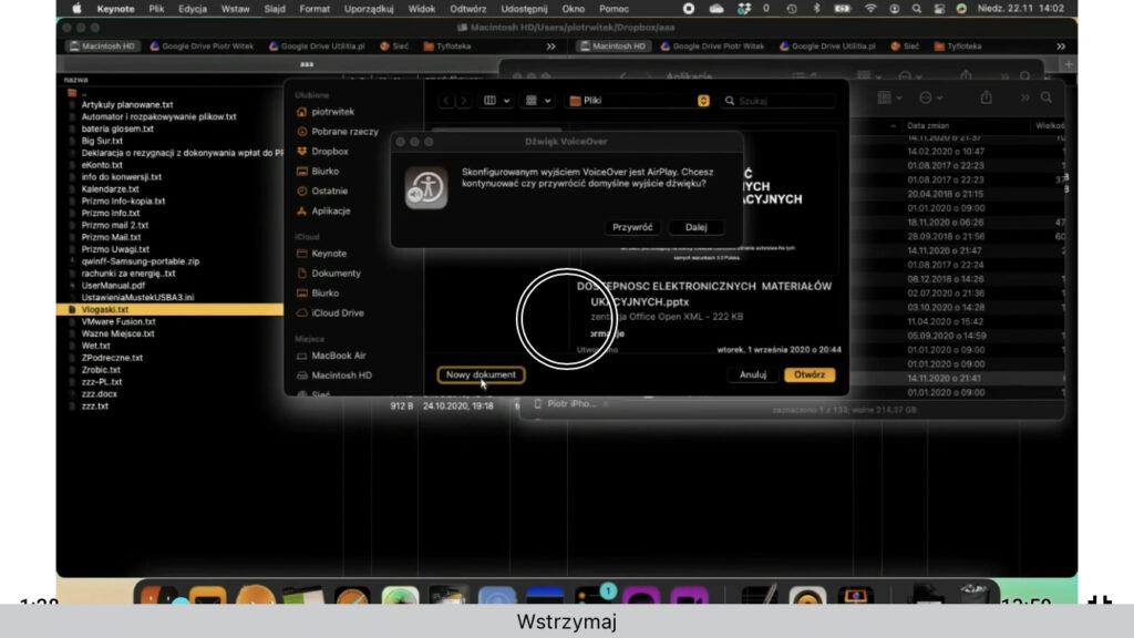 Kadr z nagrania - Kreator otwierania plików w Keynote - Fokus VoiceOver na przycisku Nowy Dokument.