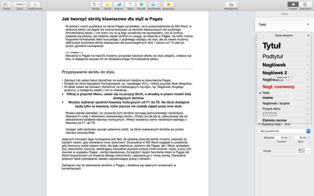 Zrzut ekranu - Otwarta tabela styli w aplikacji Pages, fokus VoiceOver ustawiony na elemencie o nazwie Nagłówek 2