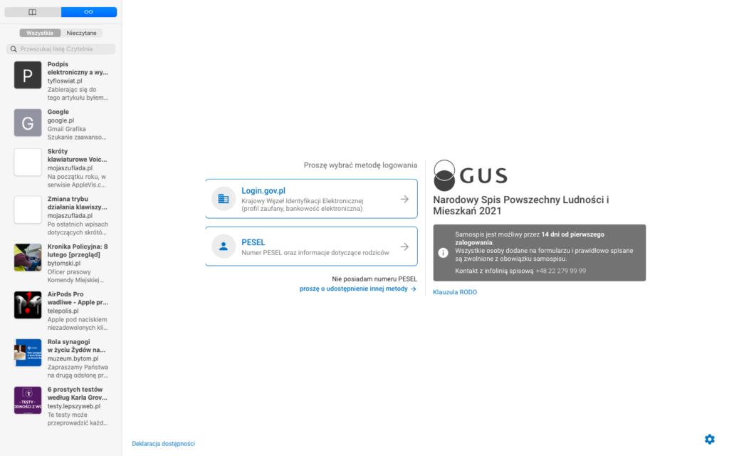 Ekran logowania do internetowej aplikacji Narodowy Spis Powszechny Ludności i Mieszkań