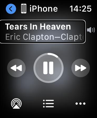 Okno odtwarzacza na Apple Watch, prezentujące tytuł utworu i nazwę jego wykonawcy