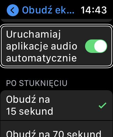 Ustawienia Apple Watch - Zaznaczona opcja automatycznego uruchamiania panelu odtwarzacza