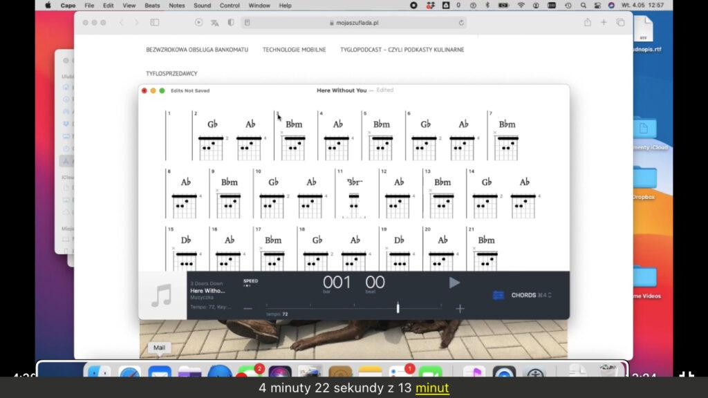 Kadr z nagrania - Okno aplikacji Capo z rozwiniętą listą rozpoznanych akordów gitarowych