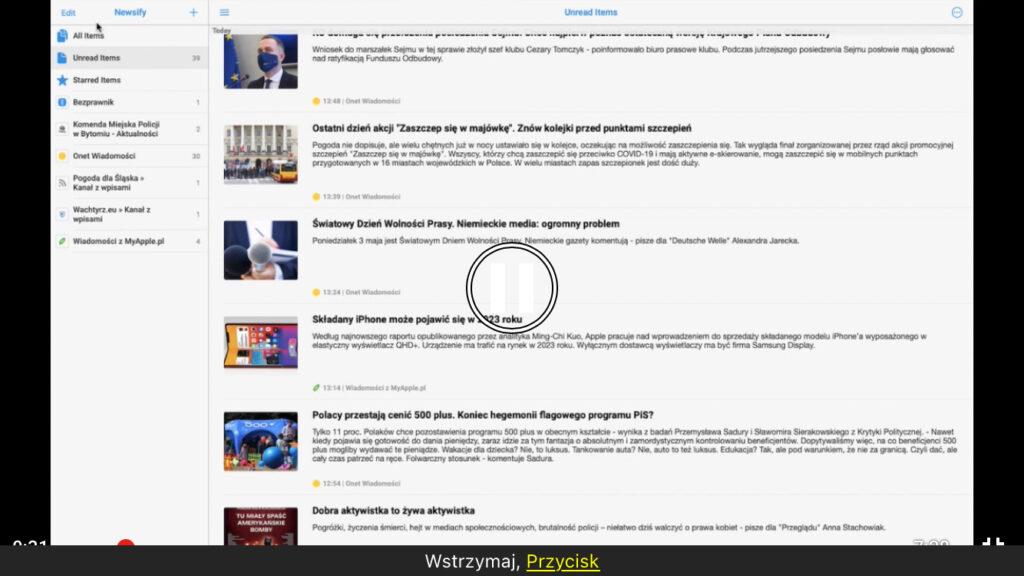 Kadr z nagrania - Otwarte okno aplikacji Newsify w systemie macOS