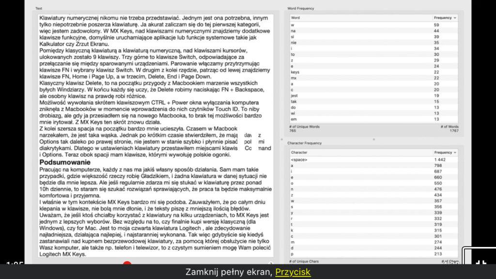 Zrzut ekranu z aplikacji QuickCounter z fokusem VoiceOver na liczbie znaków
