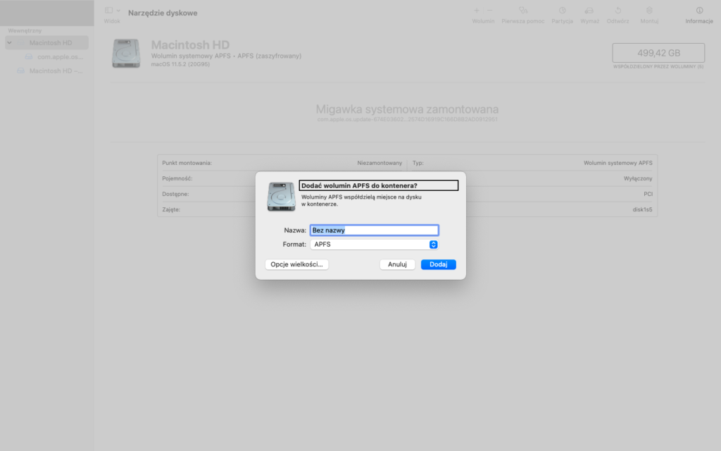 Zrzut ekranu z Narzędzia Dyskowego z pytaniem: Dodać wolumin APFS do kontenera?