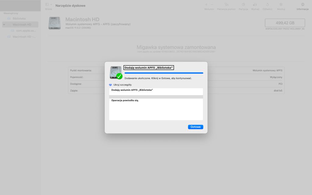 """Zrzut ekranu z Narzędzia Dyskowego z informacją: Dodaję wolumin APFS """"Biblioteka"""""""