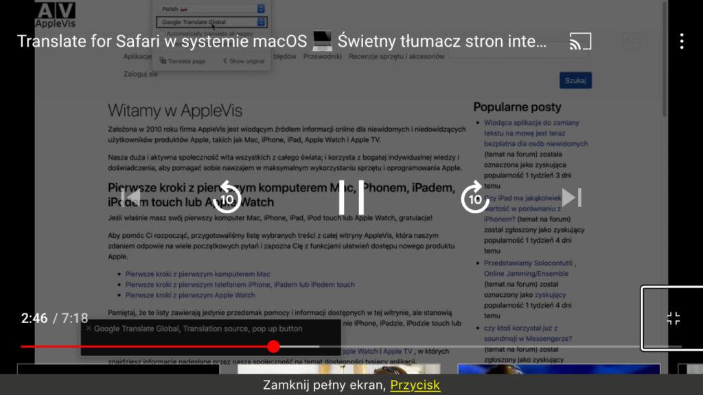 Kadr z nagrania - Ustawienia wtyczki Translate For Safari