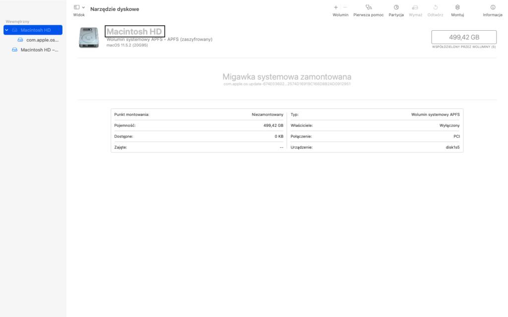 Zrzut ekranu z Narzędzia Dyskowego - Widok tabeli wyboru dysku