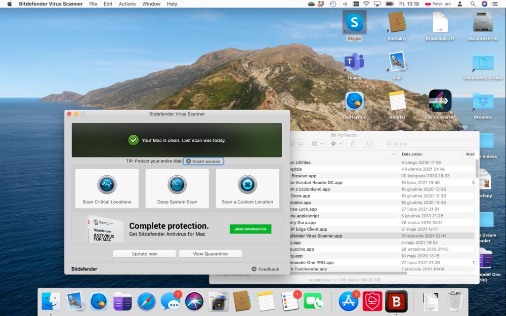 Główne okno programu z informacją po angielsku - Twój Mac jest czysty. Ostatnie skanowanie odbyło siędzisiaj.