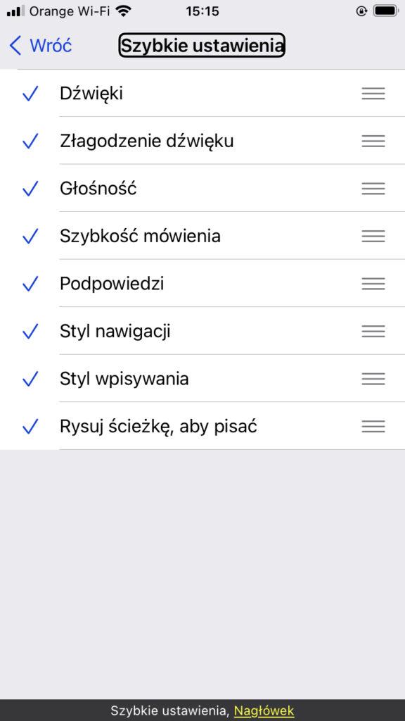 Ekran z opcjami wyboru Szybkich Ustawień