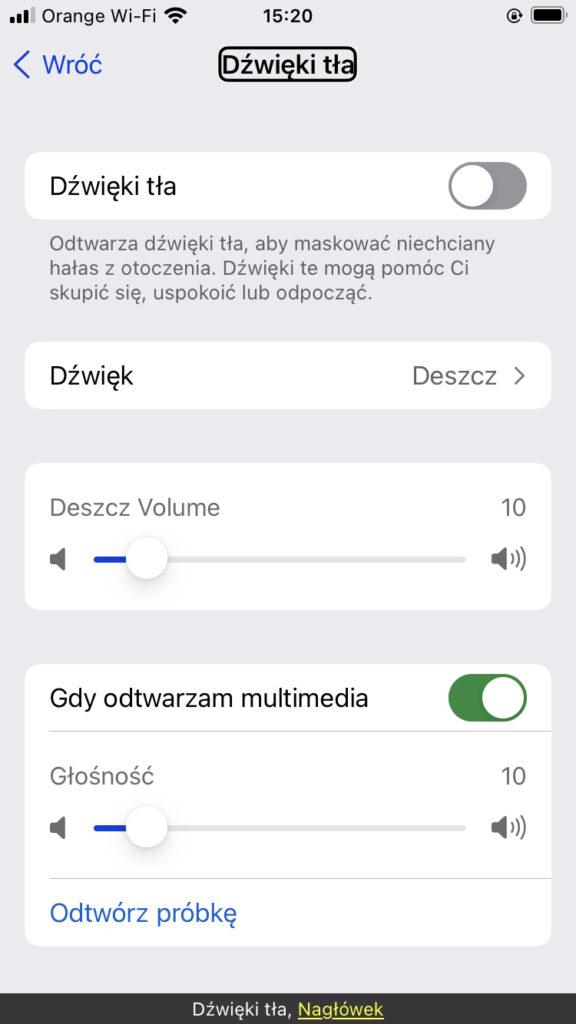 Ekran ustawień dźwięków w tle
