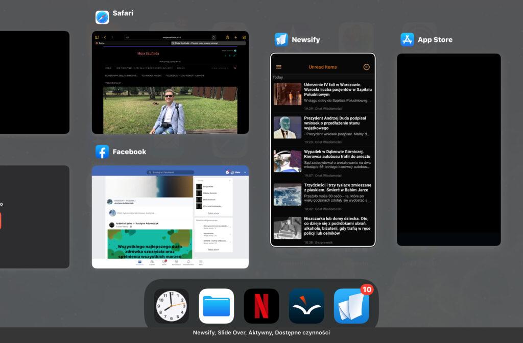 Ekran przełączania aplikacji. Programy  Newsify i App Store oznaczone jako będące w trybie Slide Over.
