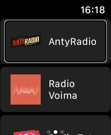 Eter Radio na Apple Watch - Ekran z listą ulubionych stacji