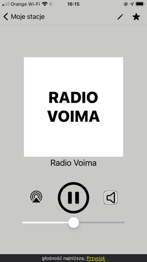Eter Radio na iPhone - Okno odtwarzacza stacji radiowej