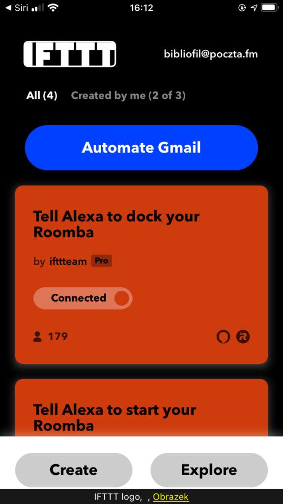 Zrzut ekranu głównego okna aplikacji mobilnej IFTTT