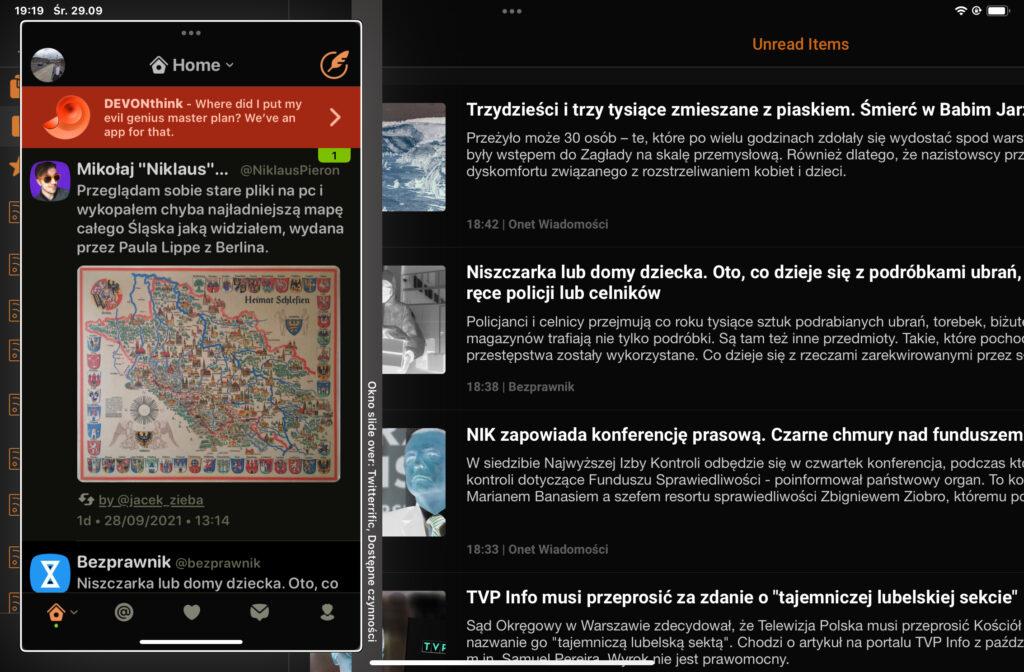 Okienko podglądu programu Twitterrific, po lewej stronie ekranu, ponad aplikacją Newsify.