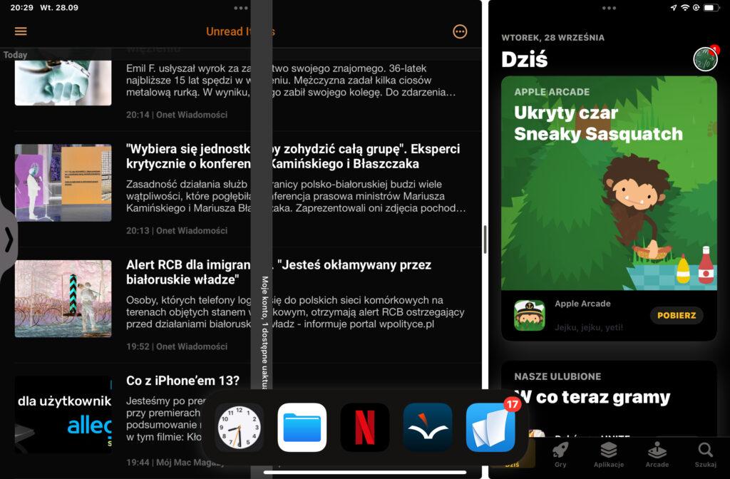 Widok podzielony. Po lewej szerokie okno Newsify, po prawej wąskie App Store.