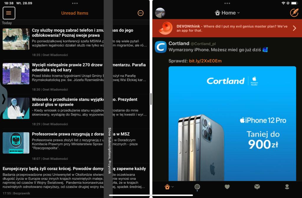 Aplikacja Newsify i Twitterrific w Widoku Podzielonym. Pierwsza wyświetlana jest po lewej, a druga po prawej stronie ekranu.