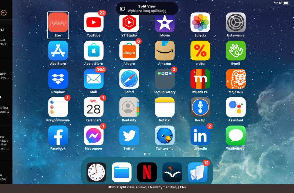 Ekran wyboru aplikacji do prezentowania w trybie Widoku Podzielonego.