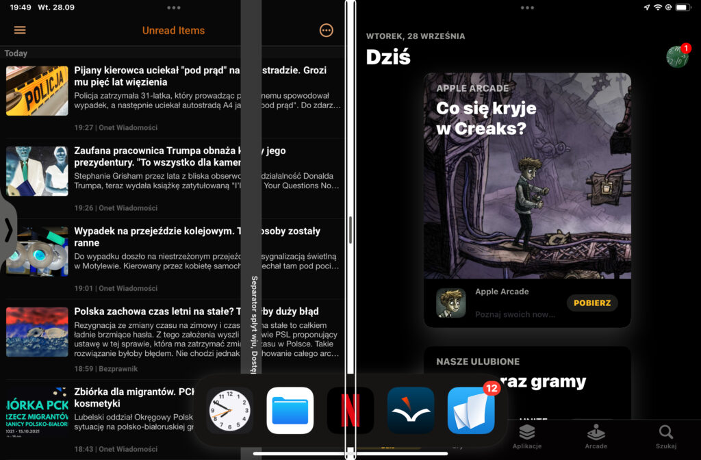 Widok podzielonego ekranu. Po lewej Newsify, po prawej App Store. U dołu wysunięty Dock, a nad nim trzy przyciski. Dwa narzędzia wielozadaniowości dla każdej z aplikacji, oraz separator Split View między nimi.